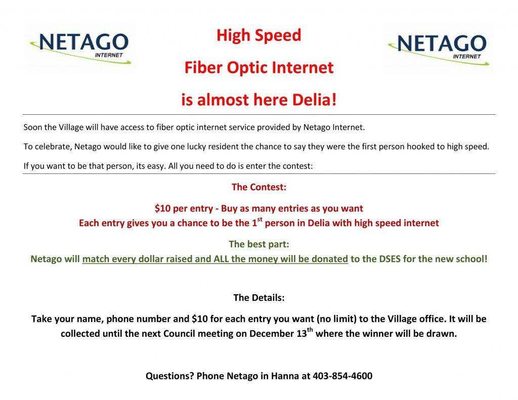 Netago Internet - High Speed Fiber Optic Contest - Village